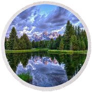 Alpenglow In The Tetons Round Beach Towel