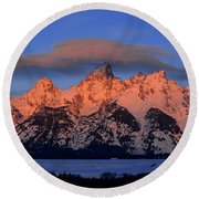 Alpenglow Tetons 2 Round Beach Towel