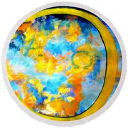 Alpha And Omega Round Beach Towel