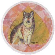 Alpha Male On Natural Leaf Round Beach Towel by Ralph Root