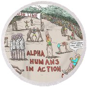 Alpha V. Beta Round Beach Towel