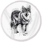 Alpha Wolf Black And White Round Beach Towel by Marian Voicu
