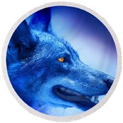 Alpha Wolf Round Beach Towel by Mal Bray