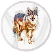 Alpha Wolf Round Beach Towel by Marian Voicu