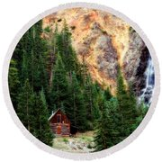 Alpine Cabin Round Beach Towel by Lana Trussell