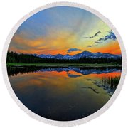 Round Beach Towel featuring the photograph Alpine Lake Glow by Scott Mahon
