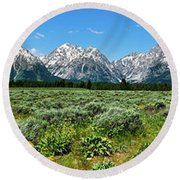 Alpine Meadow Teton Panorama II Round Beach Towel