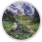 Alpine Splendor Round Beach Towel