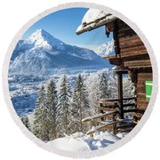 Alpine Winter Wonderland Round Beach Towel