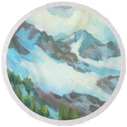 Round Beach Towel featuring the painting Alps In Switzerland by Diane McClary