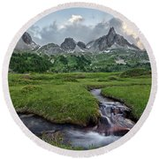 Alps In The Afternoon Round Beach Towel