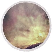 Round Beach Towel featuring the photograph Alps With Dramatic Sky by Silvia Ganora