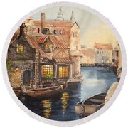Alsace At Dusk Round Beach Towel