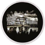 Alsea Bay Bridge Round Beach Towel