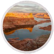 Alstrom Point Panorama Round Beach Towel by Dustin LeFevre