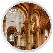 Round Beach Towel featuring the photograph Poissy, France - Altar, Notre-dame De Poissy by Mark Forte