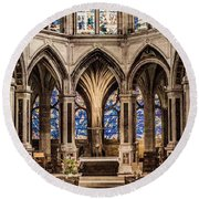 Round Beach Towel featuring the photograph Paris, France - Altar - Saint-severin by Mark Forte