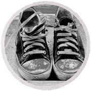 Old Sneakers. Round Beach Towel by Don Pedro De Gracia