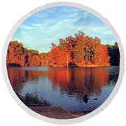 Alum Creek Landscape Round Beach Towel