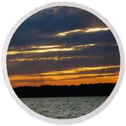 Alum Creek Sunset Round Beach Towel