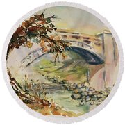 Round Beach Towel featuring the painting Alum Rock Park California Landscape 5 by Xueling Zou
