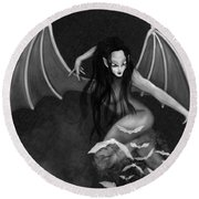 Always Awake - Black And White Fantasy Art Round Beach Towel