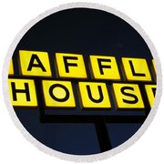 Always Open Waffle House Classic Signage Art  Round Beach Towel