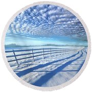 Round Beach Towel featuring the photograph Always Whiter On The Other Side Of The Fence by Phil Koch