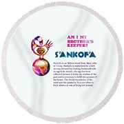 Round Beach Towel featuring the digital art Am I My Brother's Keeper? Dense by Jacqueline Lloyd
