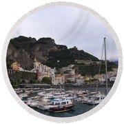 Amalfi Coast Round Beach Towel by Judy Kirouac
