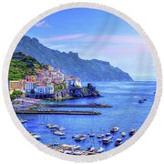 Amalfi On The Coast Round Beach Towel