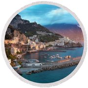 Amalfi Sunrise Round Beach Towel by Brian Jannsen