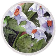 Amanda's Blue Potato Flowers Round Beach Towel