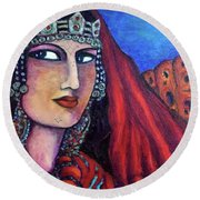Round Beach Towel featuring the painting Amazigh Beauty 1 by Rae Chichilnitsky