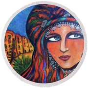 Round Beach Towel featuring the painting Amazigh Beauty 2 by Rae Chichilnitsky
