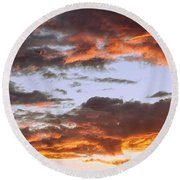 Glorious Clouds At Sunset Round Beach Towel