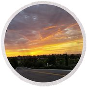 Colorful Sunset In Mission Viejo Round Beach Towel