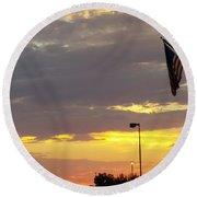Patriotic Sunset Round Beach Towel