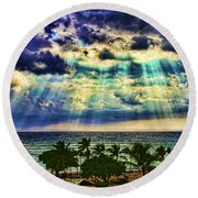 Amazing Grace - Sun Rays Before Sunset By Diana Sainz Round Beach Towel
