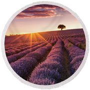 Amazing Lavender Field At Sunset Round Beach Towel