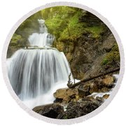 Amazing Mountain Waterfall Near Farchant Village At Garmisch Partenkirchen, Farchant, Bavaria, Germany. Round Beach Towel