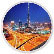 Amazing Night Dubai Downtown Skyline, Dubai, United Arab Emirates Round Beach Towel