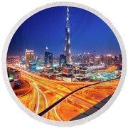 Amazing Night Dubai Downtown Skyline, Dubai, United Arab Emirates Round Beach Towel