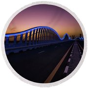 Amazing Night Dubai Vip Bridge With Beautiful Sunset. Private Ro Round Beach Towel