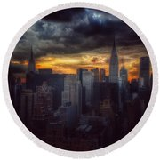 Round Beach Towel featuring the photograph Amazing Skyline Of Manhattan - New York City by Miriam Danar