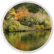 Round Beach Towel featuring the photograph Amber Days Of Autumn by Marion Cullen