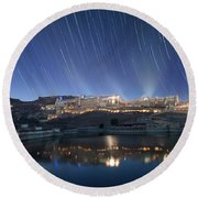 Amber Fort After Sunset Round Beach Towel