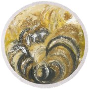 Round Beach Towel featuring the painting Amber Is The Color Of Your Energy by Ania M Milo
