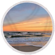 Amber Light At Twilight Round Beach Towel