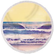 Round Beach Towel featuring the photograph Amber Tides  by Kelly Nowak